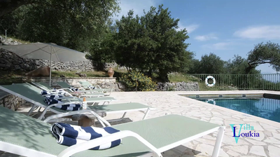 Villa Loukia's beautiful pool area